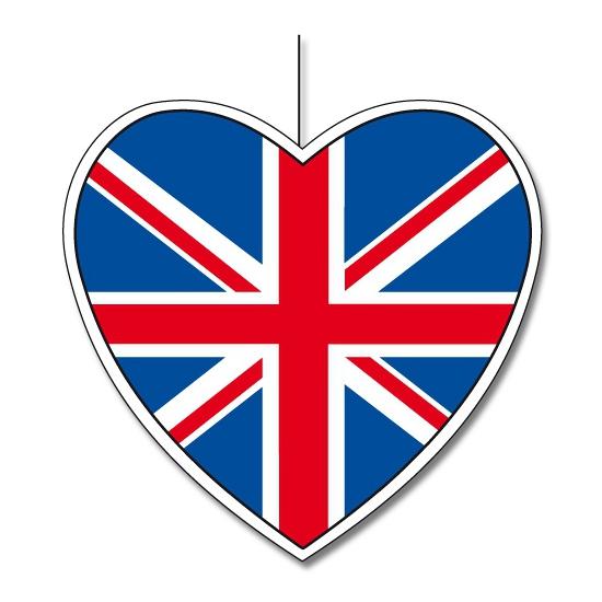Decoratie hart met Union Jack vlag 30 cm