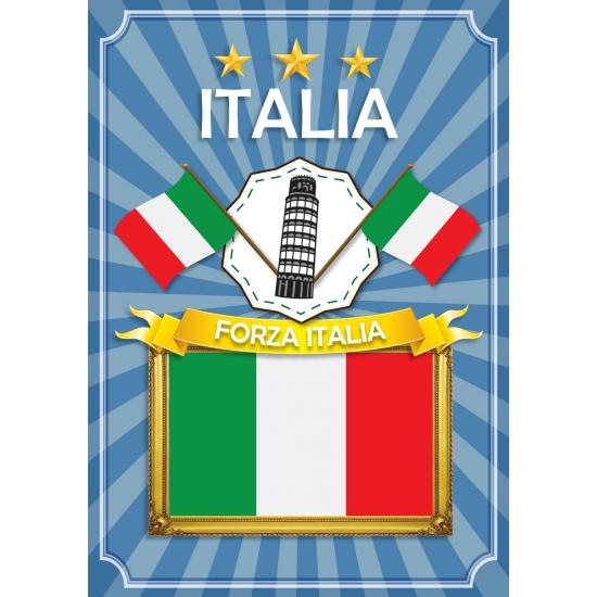 Deurposter Forza Italia blauw