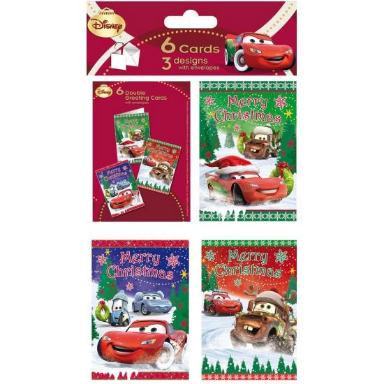Disney Cars kerstkaarten 6 stuks