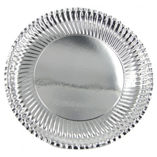 Feestartikelen borden metallic zilver 10 stuks