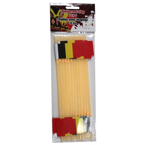 Feestartikelen gele rietjes met Belgische vlag 12 stuks