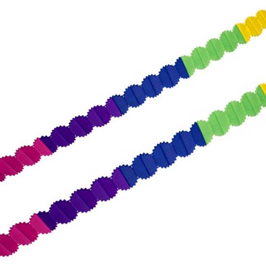 Feestartikelen slingers crepepapier gekleurd 6 meter