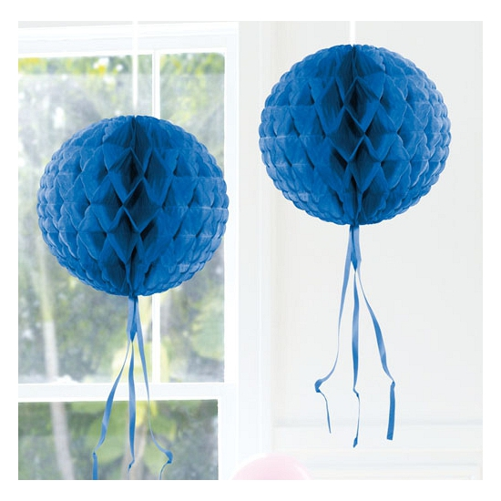 Feestversiering blauwe decoratie bol 30 cm
