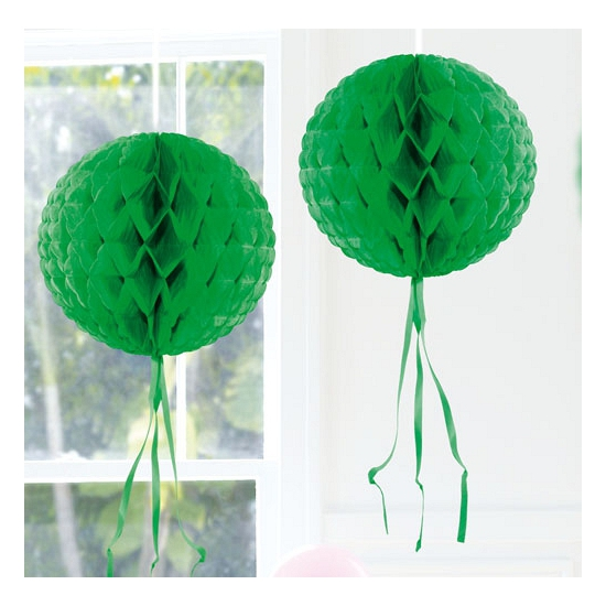 Feestversiering donker groene decoratie bol 30 cm