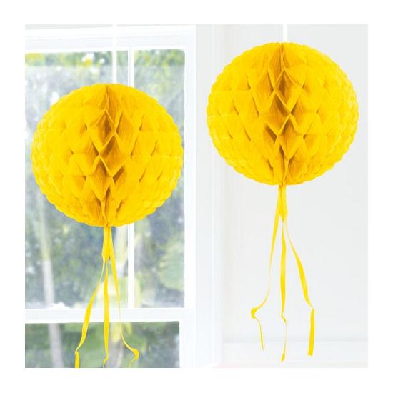 Feestversiering gele decoratie bol 30 cm