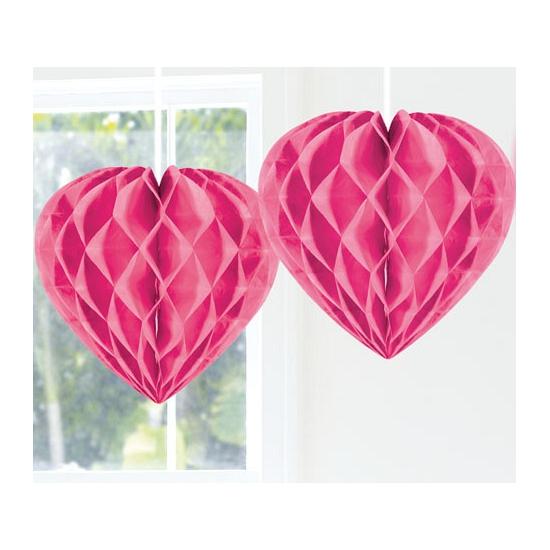 Feestversiering roze decoratie hart 30 cm