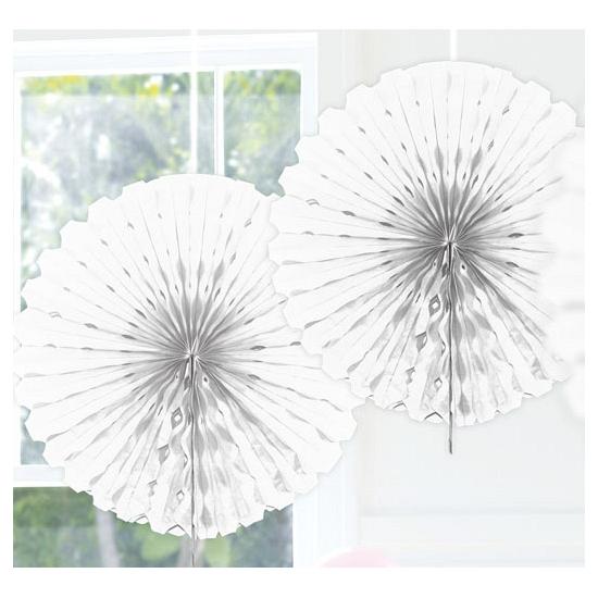 Feestversiering witte decoratie waaier 45 cm