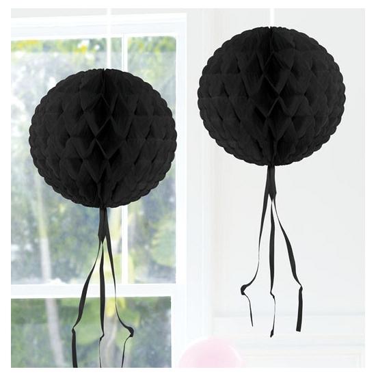 Feestversiering zwart decoratie bol 30 cm