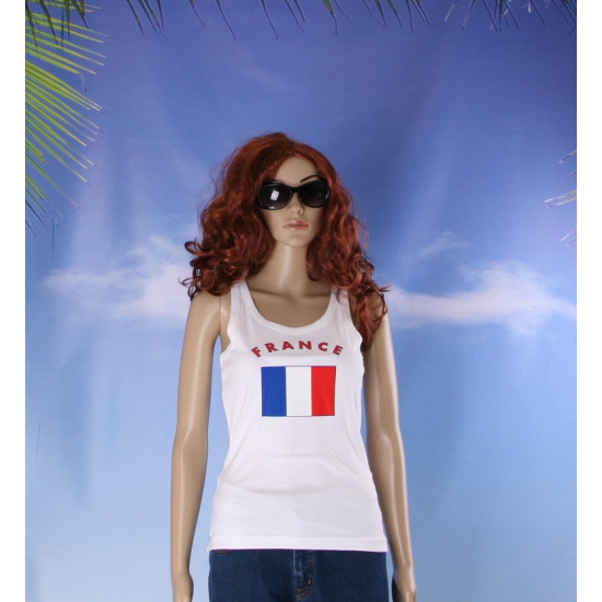 Franse vlag tanktop / singlet voor dames