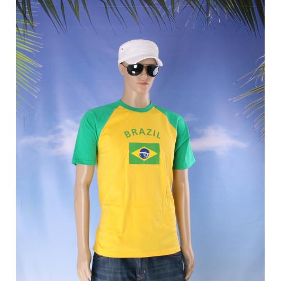 Geel met groen t shirt met vlag van Brazilie dames