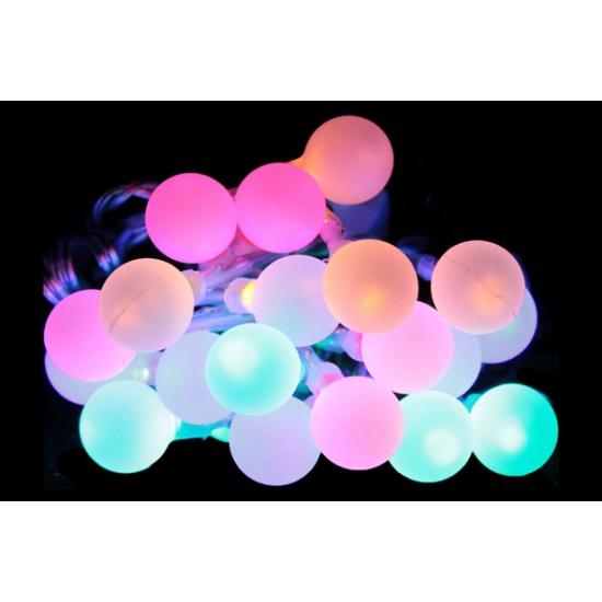 Gekleurd lichtsnoer met 20 bolletjes