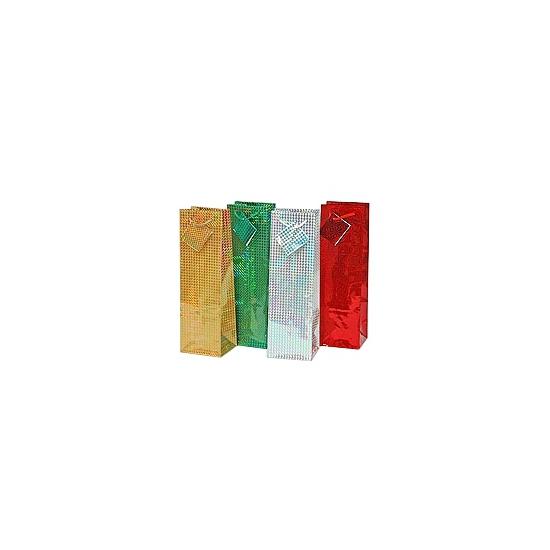 Gekleurde kado tas voor flessen 33 x 10 cm