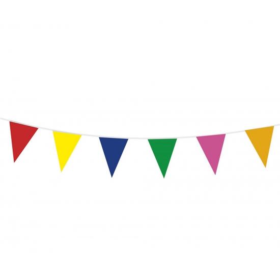 Gekleurde plastic vlaggetjes 10m
