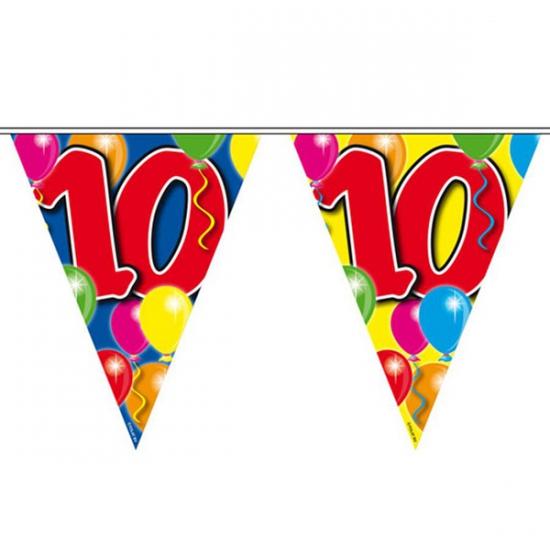 Gekleurde vlaggenlijn 10 jaar