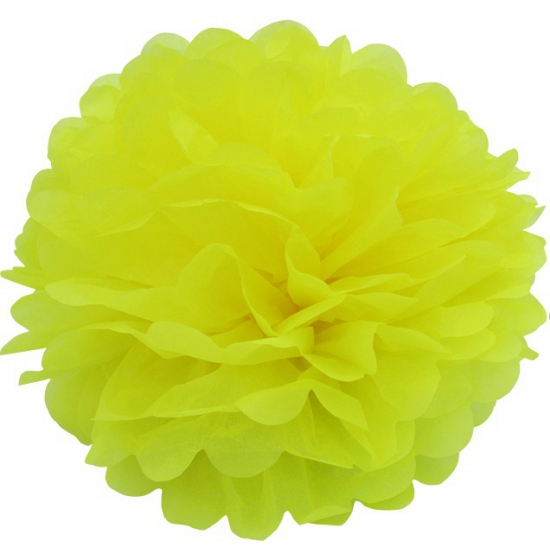 Gele pompom versiering 25 cm