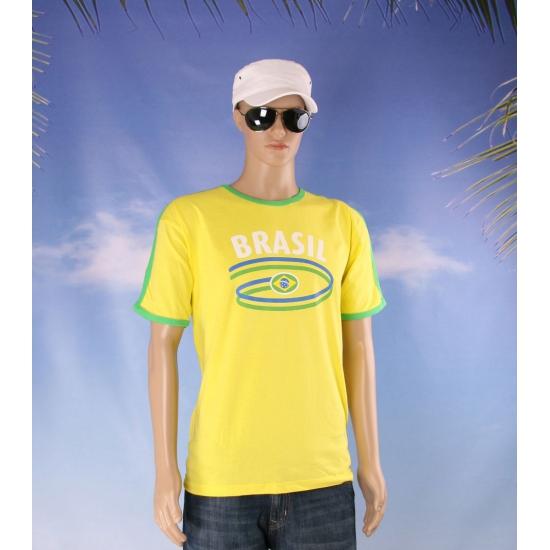 Gele shirts met vlag van Brazilie heren