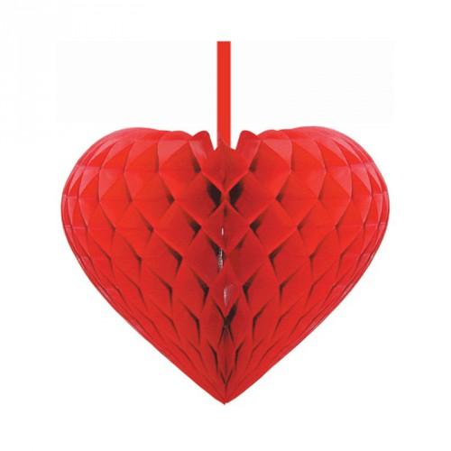 Gevouwen hart 15 cm rood