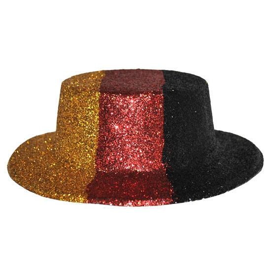 Glitter hoed met Duitse vlag voor volwassenen