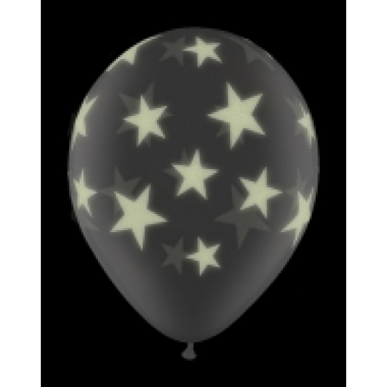 Glow in the dark ballon sterren 28 cm