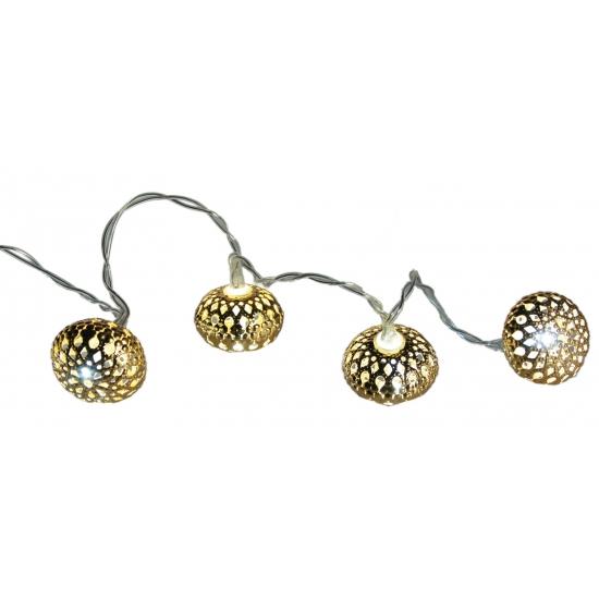 Gouden LED kerstballen aan snoer