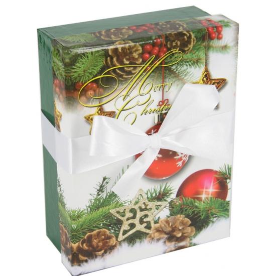 Groen kerst inpak doosje 14 cm
