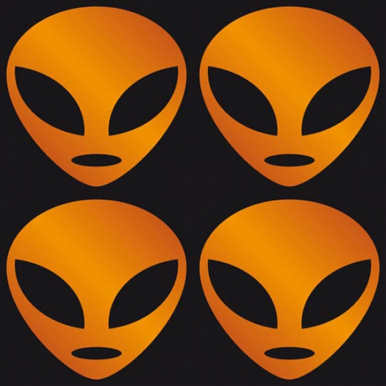 Halloween Reflecterende Alien stickers oranje