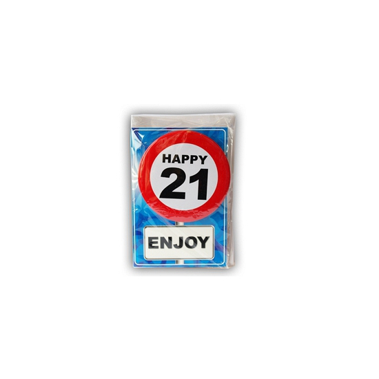 Happy Birthday leeftijd kaart 21 jaar