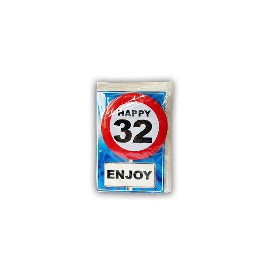 Happy Birthday leeftijd kaart 32 jaar