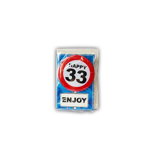Happy Birthday leeftijd kaart 33 jaar
