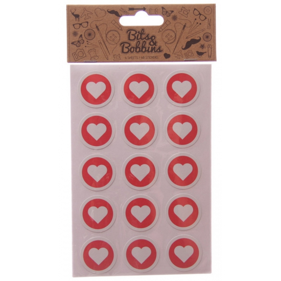 Hartjes stickers 60 stuks