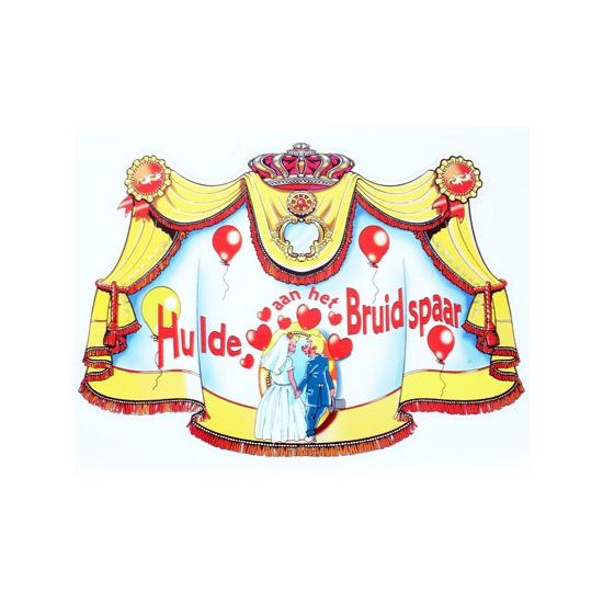 Huldebord hulde aan het bruidspaar