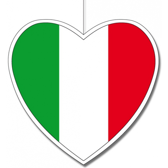 Kartonnen Italie hangdecoratie hartjesvorm 14 cm