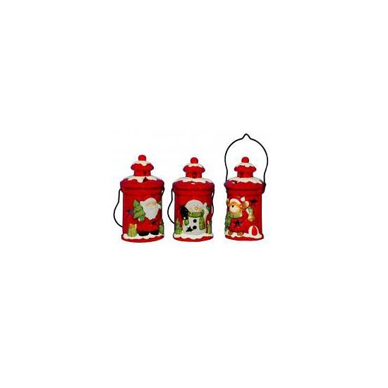 Kerstmis lantaarn sneeuwpop