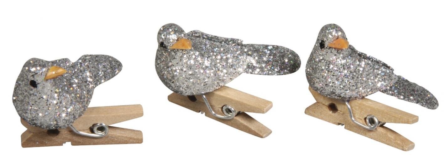 Knijper met zilveren glitter vogel