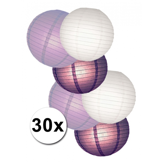 Lampionnen versiering set wit/paars