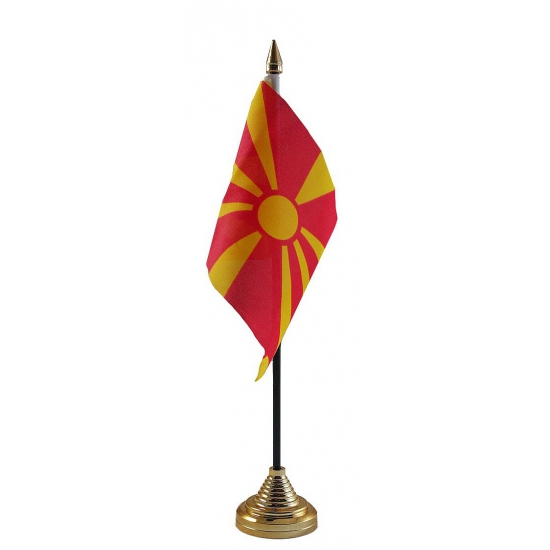 Macedonie tafelvlag met standaard