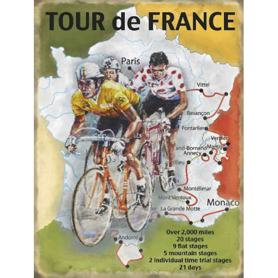 Metalen platen Tour de France route