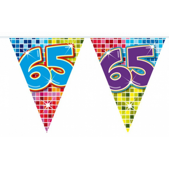 Mini vlaggenlijn met leeftijd 65
