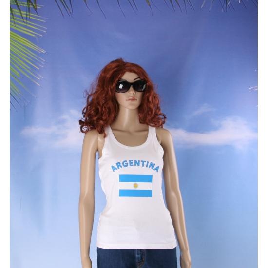 Mouwloos shirt met vlag Argentinië print voor dames
