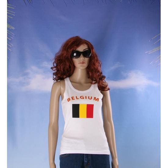 Mouwloos shirt met vlag België print voor dames