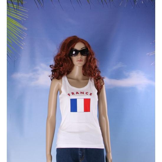 Mouwloos shirt met vlag Frankrijk print voor dames