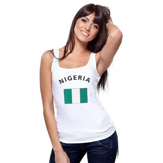 Mouwloos shirt met vlag Nigeria print voor dames