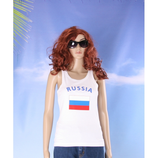 Mouwloos shirt met vlag Rusland print voor dames