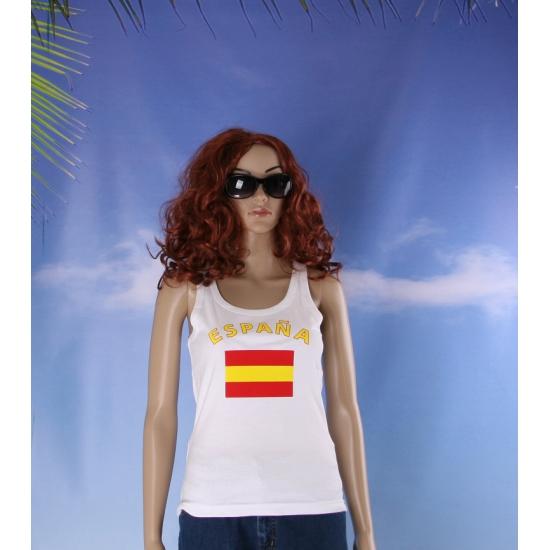 Mouwloos shirt met vlag Spaanse print voor dames