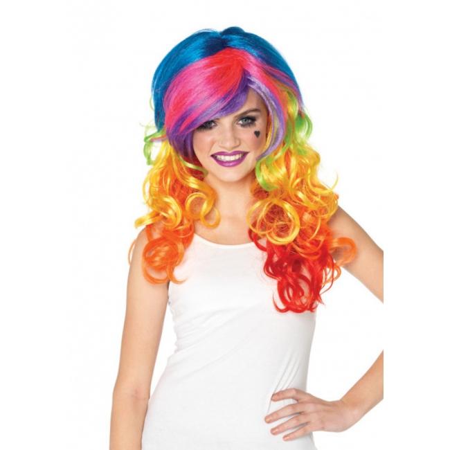 Multi color pruik voor dames met krullen
