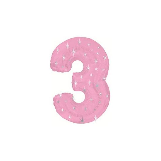Nummer ballonnen 3 roze