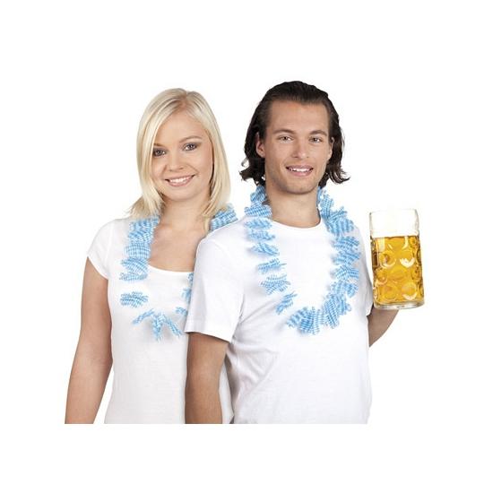 Oktoberfest bloemenkrans blauw/wit