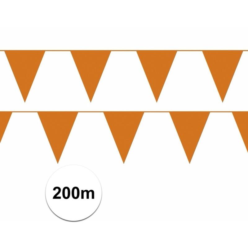 Oranje plastic vlaggenlijn budget 200 meter