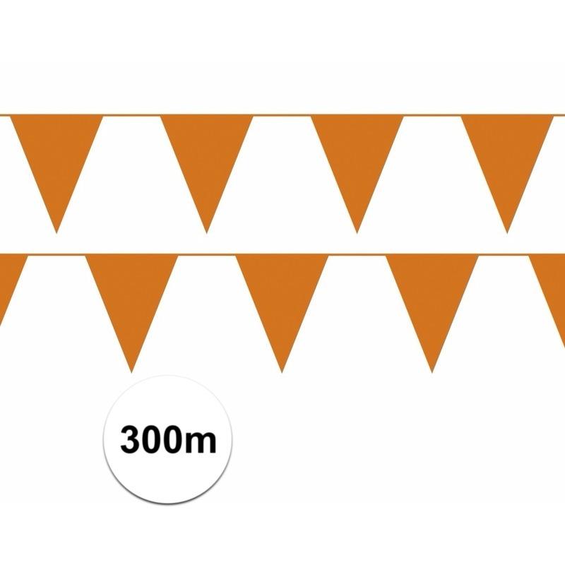 Oranje plastic vlaggenlijn budget 300 meter