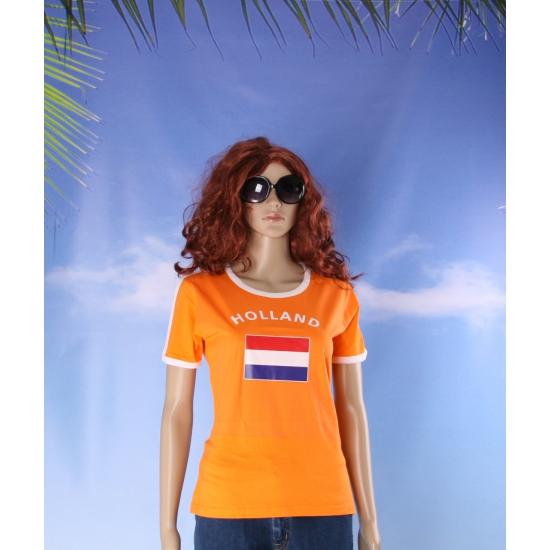 Oranje shirts met vlag van Holland dames